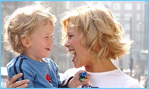 Melinda Messenger and her son Morgan