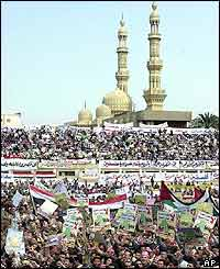 A rally at a central stadium in the northern Egyptian city of Zagazig