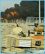 A UK tank outside Basra