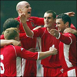 Gary Speed puts Wales 2-0 up in the 40th minute