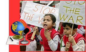 School children protest in New Delhi
