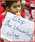 A young anti-war protester in New Delhi, India