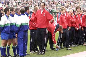 England skipper Martin Johnson speaks to the referee before kick off