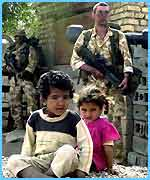 British soldiers with children in southern Iraq