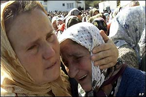 Two Bosnian women weeping