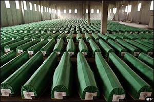 Coffins of remains of 600 bodies of Bosnian Muslims were laid in a local factory, a day before burial in Potocari, near Srebrenica