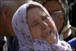 A Bosnian Muslim woman refugee from the Srebrenica area who lost her male family members