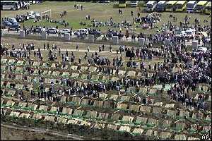 General view of the Potocari memorial centre with 600 coffins of victims of the Srebrenica massacre