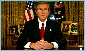 President George Bush reveals war has started