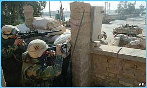 US snipers in action close to Baghdad