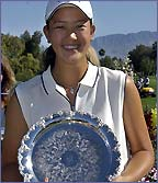 Michelle Wie shows off her latest trophy
