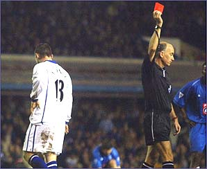 Wayne Rooney is sent off for the first time in his career in during 1-1 draw at Birmingham on December 26, 2002.