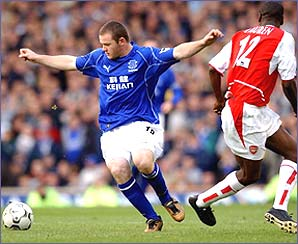 Wayne Rooney scored his first Premiership goal against Champions Arsenal on 19 October, 2002