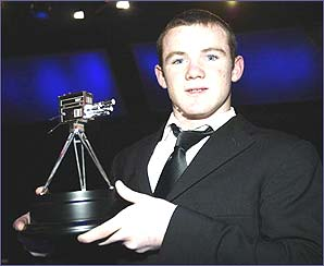 Wayne Rooney collects the BBC Young Sports Personality of the year award