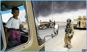 Soldiers guard a checkpoint in Iraq