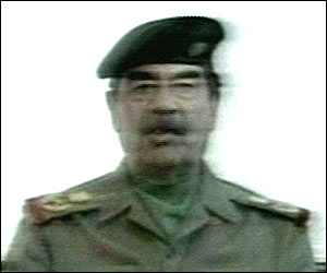 Saddam Hussein on Iraqi television earlier on Friday