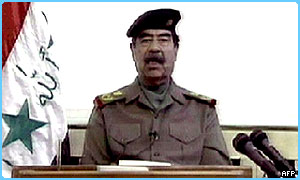 Saddam Hussein makes his speech on Iraqi TV