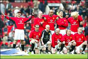A team of look-a-likes invade the pitch before Man Utd beat Liverpool