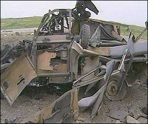 Completely destroyed vehicle