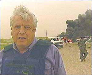 The BBC's world affairs editor John Simpson at the scene of the incident
