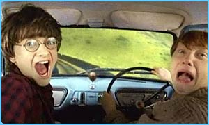 Harry and Ron take the flying car to Hogwarts
