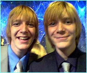 The naughty Weasley twins, Fred and George, also known as Oliver and James Phelps
