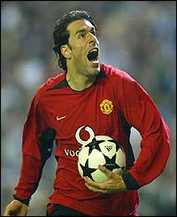 Manchester United's Ruud Van Nistelrooy celebrates scoring against Real Madrid