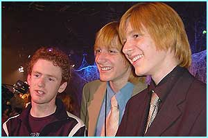 Big smiles from the Weasley clan - Chris (Percy), Oliver and Jamie (the twins) are all great mates