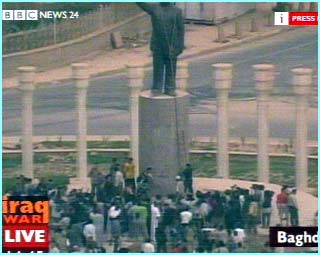 The crowd tried to pull the statue over, but it was too heavily built