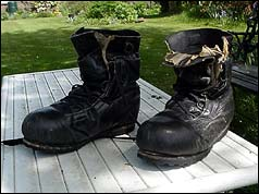 Charles Wylie's boots which he used on Everest in 1953