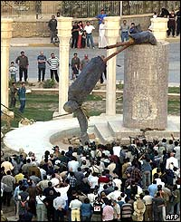 Statue of Saddam is pulled down in Baghdad
