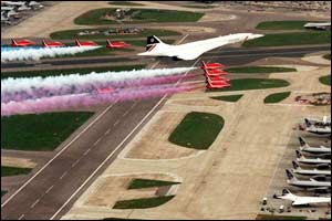 Concorde and the Red Arrows help Heathrow Airport celebrate its 50th anniversary