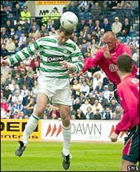 Chris Sutton heads Celtic ahead against Kilmarnock