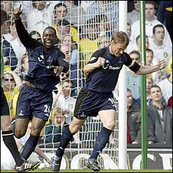 Teddy Sheringham scored Spurs' first goal against Leeds