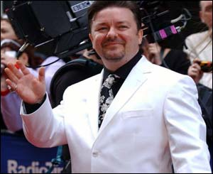 Ricky Gervais, star of The Office, had the most to smile about