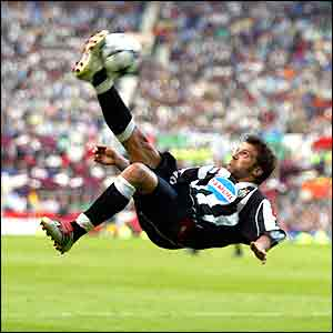 Juve star Alessandro del Piero shows his skills in the first half in Manchester