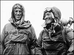 Ed Hilary and Sherpa Tenzing after returning from the summit of Everest