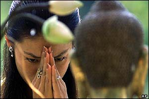 A Cambodian woman prays at a temple in Phnom Penh