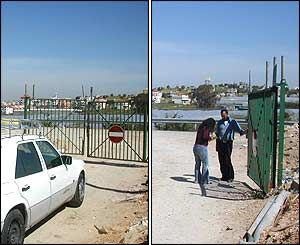 Passing through a locked gate to enter the West Bank town of Azzoun from Israel