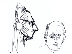 Yehuda Bacon's courtroom sketch of Adolf Eichmann (L) and the judge (R), © Yehuda Bacon