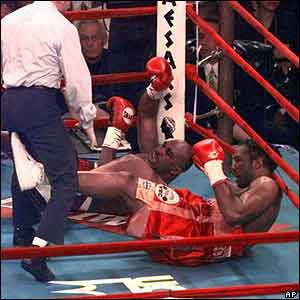 In 1999 Lewis out-boxes Holyfield for most of the 12 rounds, while the judges declare a draw