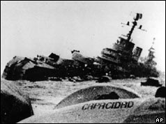 350 people died when the British sunk Argentine cruiser General Belgrano on 1 May 1982