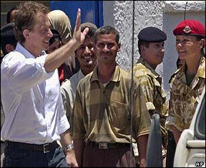 Blair outside the Khadija Al Kubra School in Basra
