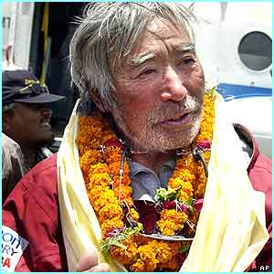 The oldest man to climb it was in Nepal to celebrate too! He is Japanese mountaineer Yuichiro Miura, 70