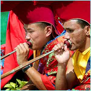 Locals joined in the week of celebrations, including Tibetan Buddhist monks who played their horns in Katmandu