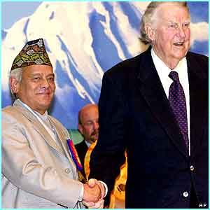On Thursday, Sir Edmund met Nepal's Prime Minister to celebrate the 50th anniversary of the climb