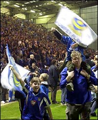 Portsmouth fans celebrate their promotion