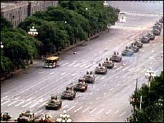 Tanks moving into Tiananmen Square