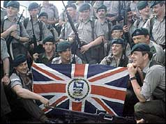 British troops prepare to leave for the Falklands Islands