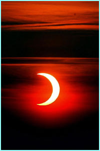 There was an annular eclipse early Saturday morning, when the moon passed in front of the sun